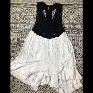 Free People Black Crochet White Skirt Slip Dress S